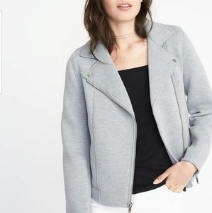 🌹NWT Old Navy Scuba-Knit Moto Jacket Heather Gray